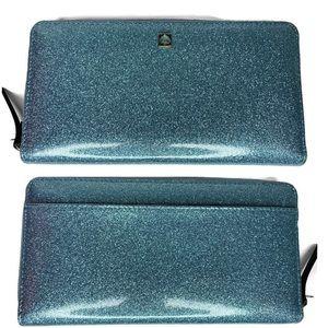 Kate Spade ♠️ Blue Glitter Full-Sized Wallet NWOT